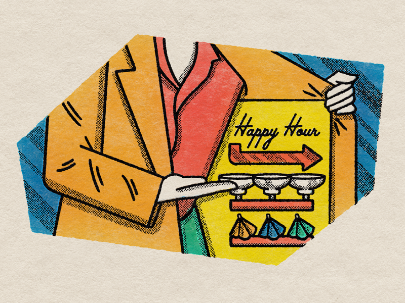 Happy Hour cocktails happyhour alcohol halftone illustration editorial
