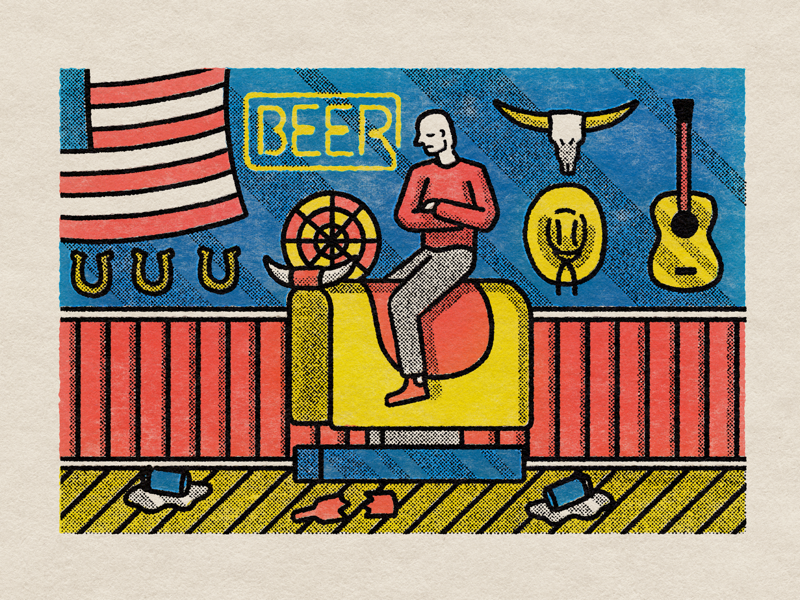 Sad cowboy editorialillustration texture alcohol bar halftone