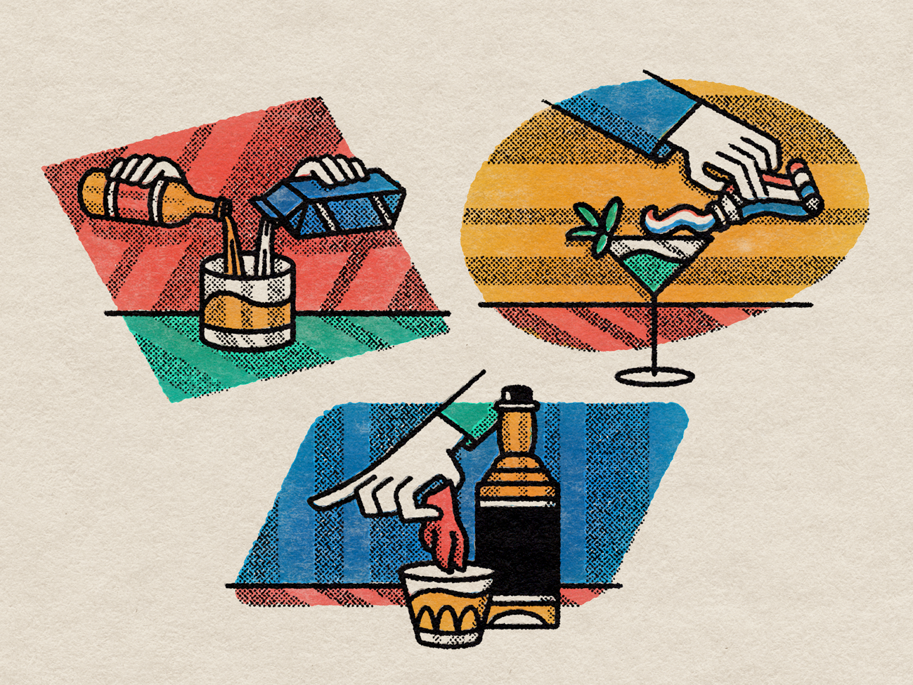 Weird Drinks ipadpro bars editorial illustration cocktails photoshop texture alcohol halftone illustration