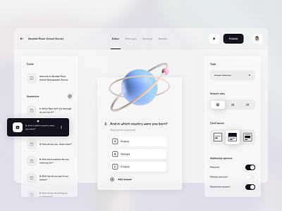 Survey Dashboard ⁉️ platform product design interface dashboard editor sidebar quizz techno music research surveyor survey website