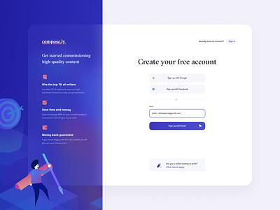 Registration page for Marketplace 🙋♀️ marketplace website platform create account account register sign up writer icons design interface registration onboarding