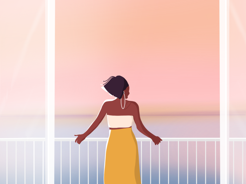 Sometimes you need to relax. positive vibes positivity relaxing balcony calming stayathome stayhome coronavirus girlpower charachter design procreate women in illustration illustrator illustration