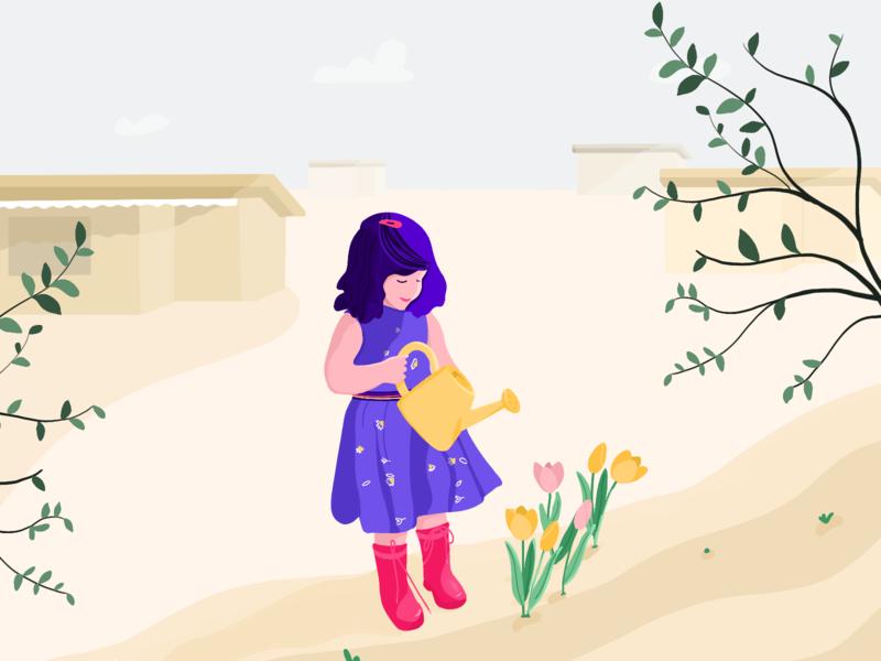 My friend's daughter tulips garden gardening digital illustration illustration digital procrate sketch childrens illustration child girl illustration illustrator drawing illustration