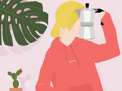 CoffeeLover moka moka pot coffee illustration illustrator drawing