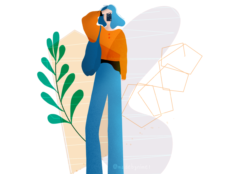 Click! geometric art photographer procreate app procreate illustrator charachter drawing illustration