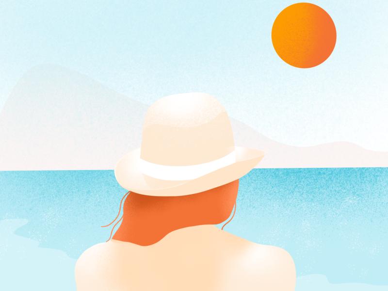 Live in the sunshine. Swim in the sea. hat sunny beach sea summer girl charachter design women in illustration illustrator procreate procreate app drawing illustration