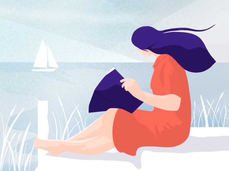 A Summer Day editorial editorial illustration relaxing chillin chill sketch summer girl women in illustration charachter design procreate procreate app illustrator drawing illustration