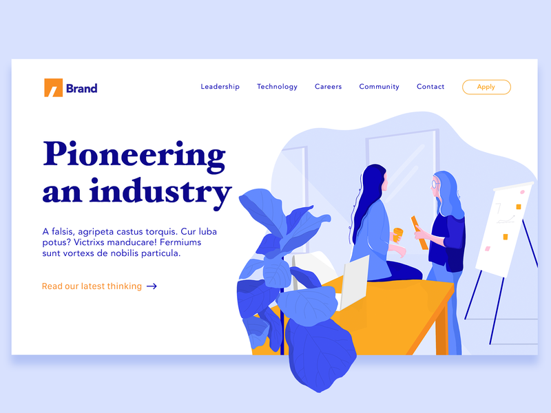 Pioneering an industry. page builder page design webillustration bussiness web page sketch procreate landing page ui landing page webdesign ui illustrator drawing illustration