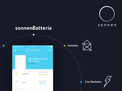 Sonnen app 2.0 sketch design dark sonnen icons eco system ux ui app ios smart home