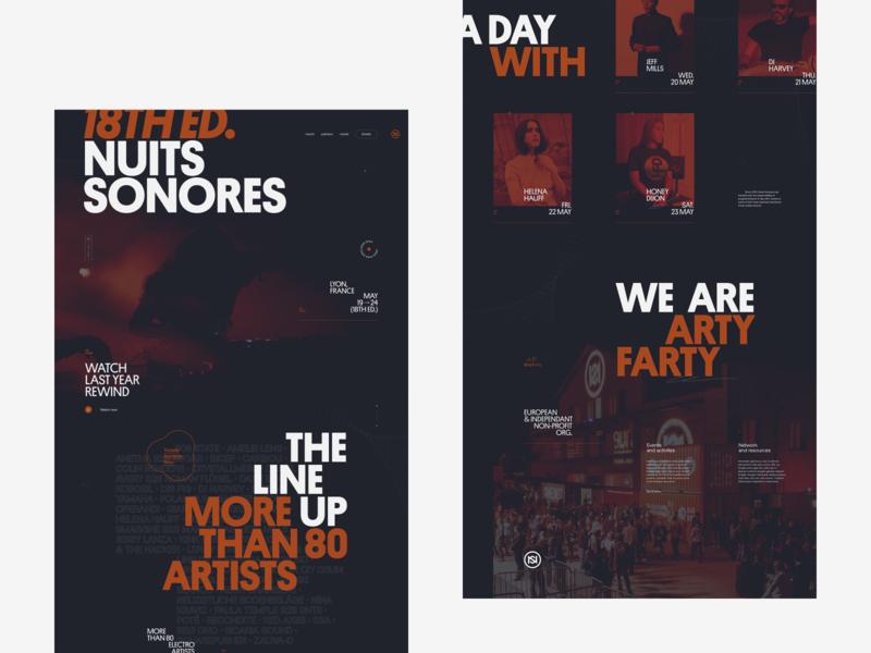 NS Festival 2020 Concept website dance festival music lyon branding ui typography grid minimal webdesign concept