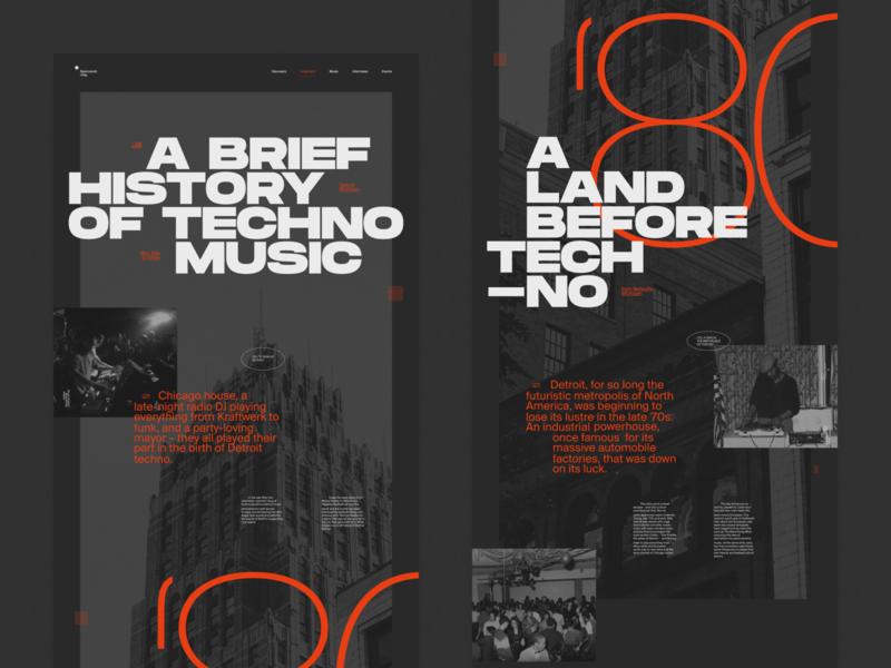 A Brief History of Techno Music chicago detroit webposter poster website web interface muzli music techno branding ui typography grid minimal webdesign concept