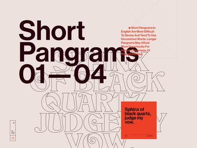 Pangrams №002 mood type art direction exploration website web ui typography grid minimal webdesign concept