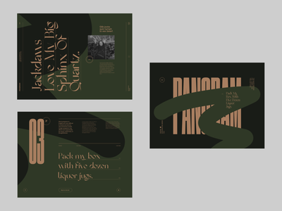 Pangrams ( Iterations ) alternative iteration version art direction moodboard mood web colors website branding ui typography grid minimal webdesign concept