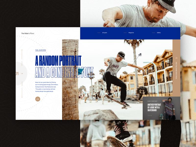 Nonsense 02 condensed magazine sport skateboard typogaphy dark fullscreen webdesign ui minimal grid concept