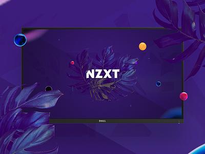 NZXT Wallpaper desktop brand purple leaves freebie branding wallpaper nzxt