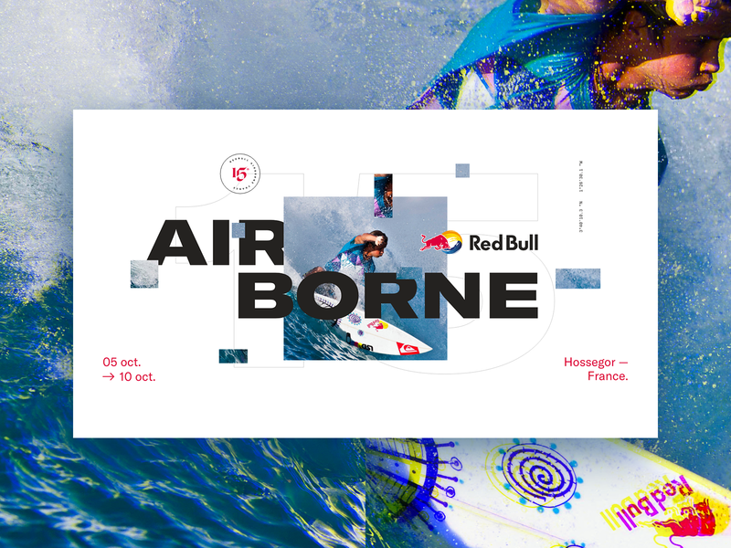 Red Bull Airborne surf redbull ux vector branding glitch typo flat ui design typography lyon colors fullscreen webdesign grid minimal concept