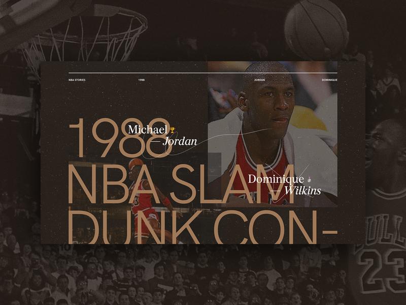 1988 NBA Slam Dunk Contest design ui grid fullscreen minimal concept landing page concept dark landing page sans serif serif webdesign typogaphy sport basketball basket nique jordan dunk nba