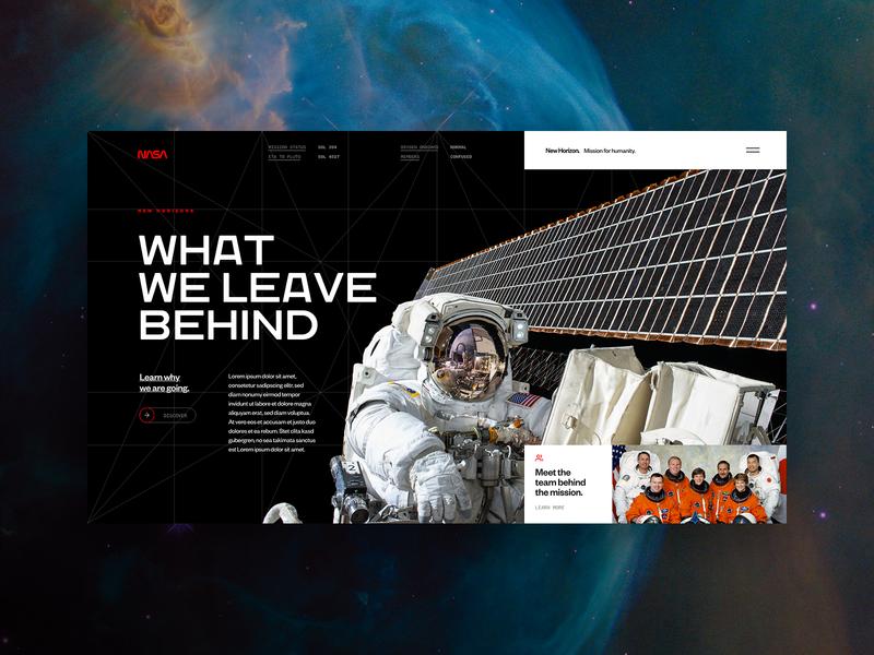 What We Leave Behind vector dark technology tech flat ui branding logo typography fullscreen webdesign grid minimal concept spaceship travel nasa space
