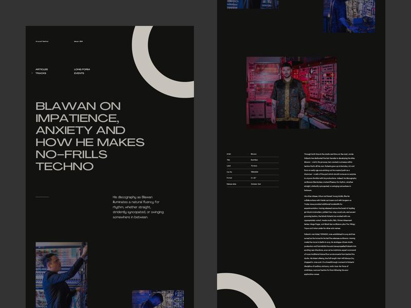 Around Techno — Blawan pangrampangram website grid dark branding ui typography fullscreen webdesign minimal concept techno blawan