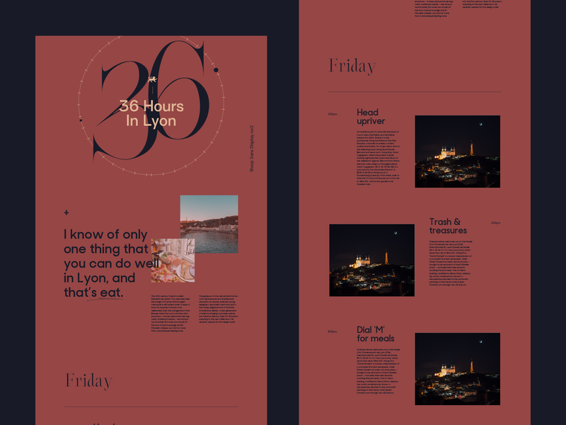 36 Hours In Lyon minimalist france travel voyage magazine editorial ux vector lyon branding ui typography fullscreen webdesign grid minimal concept