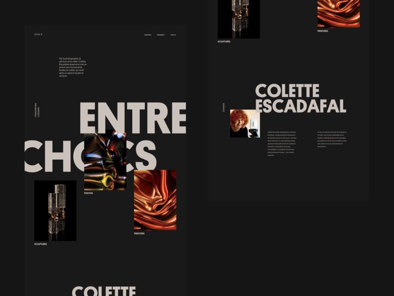 Entrechocs lyon white black typography minimal photography artist sculpture portfolio concept webdesign sketch