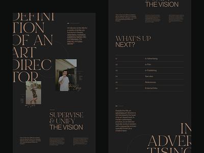 Def. of an Art Director luxury elegant typo ux dark flat grid branding ui color minimal typogaphy concept webdesign editorial art director