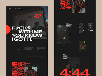 JAYZ— FuckWithMeYouKnowIGotIt pangrampangram typogaphy website web minisite music vector ui typography grid minimal concept webdesign holy grail rap