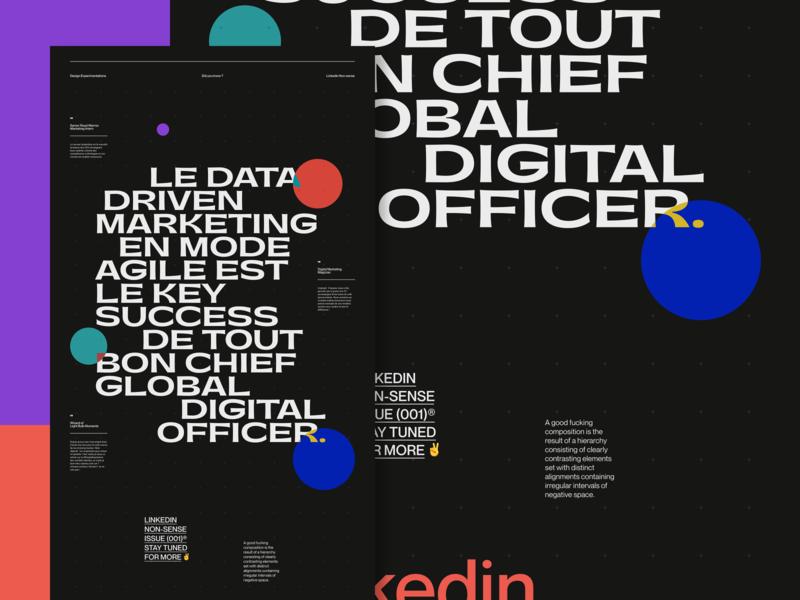 LinkedIn Non-sense job linkedin website web dark branding ui typography grid webdesign minimal concept