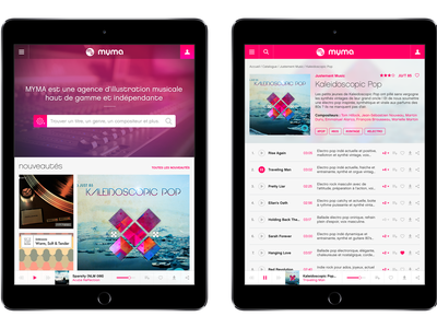 Music Agency UI/UX Redesign audio player myma pink website responsive redesign music ux ui