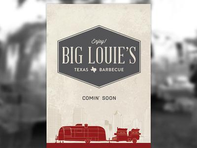 Big Louie's Texas Barbecue branding illustration identity logo airstream barbecue