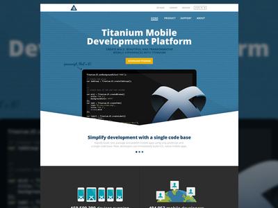 Titanium Homepage titanium marketing page flat illustration developer app platform mobile development platform blue