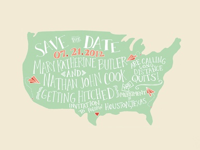 Illustration | Our Save the Date design illustration print texas typography handwritten color lettering doodle love wedding invitation