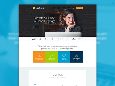 Cloudwords Marketing Site bright layout web translation marketing site