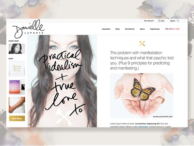 Danielle LaPorte Homepage fixed width homepage typography editorial personal brand web ux navigation split screen danielle laporte dlp blog