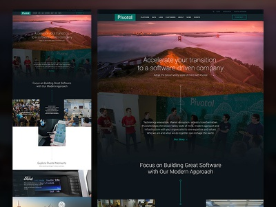 Pivotal Home pivotal san francisco silicone valley developers case studies tech interaction design ux homepage