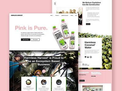 Harmless Harvest Homepage fair trade bold layout landing ux ui website homepage pink marketing product