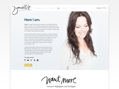 Danielle LaPorte About Page minimal hand lettering photo heavy about