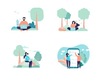 Working outside illustrations women men character working nature laptop vector illustration