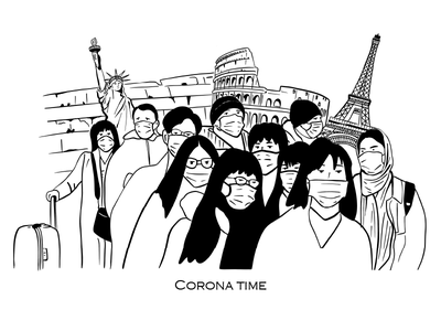 Corona time illustration the western wall coliseum statue of liberty eiffel tower people world coronavirus design ipad pro vector illustration