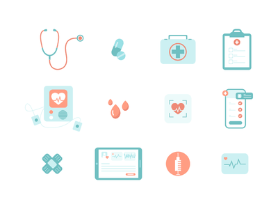 Medical icons syringe medicine blood plaster medical app heart stethoscope medical icon set icons vector illustration