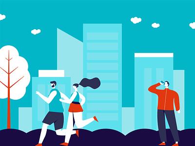 Fitness illustration urban character drinking health running fitness vector illustration