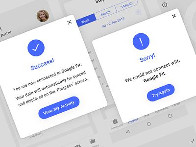 Success and error messages health sync connection app ux ui error failure success message
