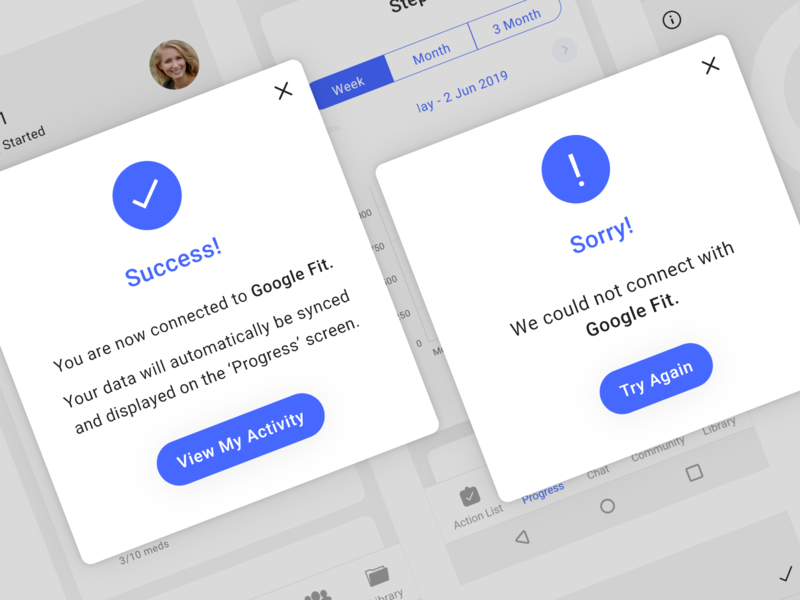 Success and error messages health sync connection app ux ui error failure success message