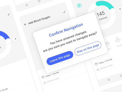 Confirm navigation popup message are you sure stay leave xd app health app popup navigation confirm ui ux