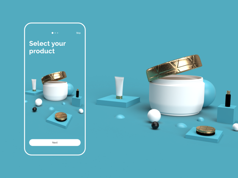 3D illustrations 3d illustrations present wrapping cosmetics product onboarding screens app ui 3d illustration