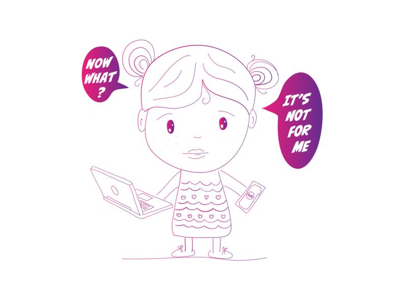 A little girl in A big world web vector design article illustrator draw blog illustration
