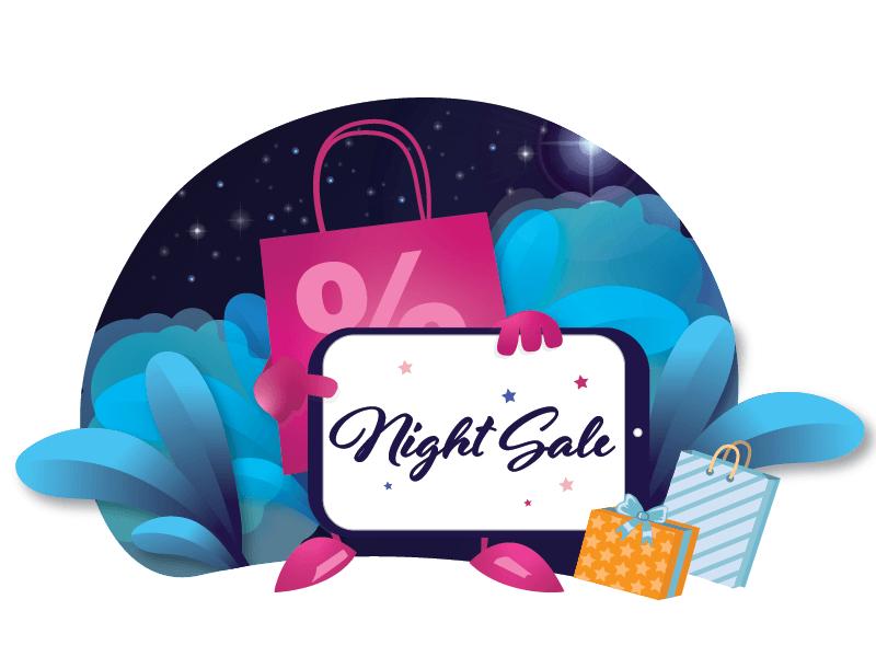 Night Sale night sale night shopping sale flat app ux ui design vector illustration