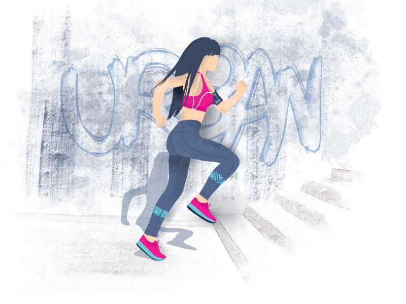 Urban Running procreate app ipad pro flat urban sport woman girl running character design illustration