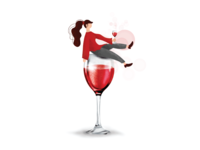 Wine Girl Illustration