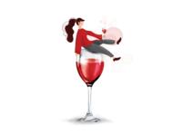 Wine Girl Illustration